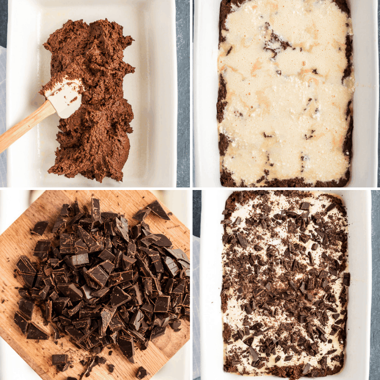 a collage of four images showing the steps in making the keto chocolate cake bars