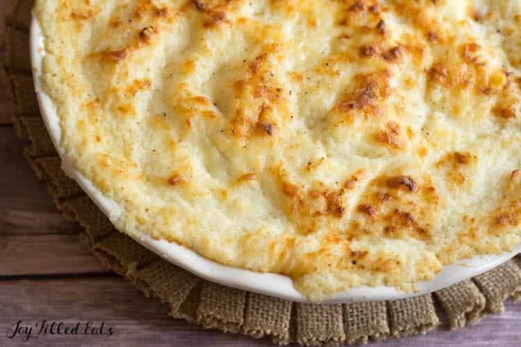 close up of the keto mashed cauliflower