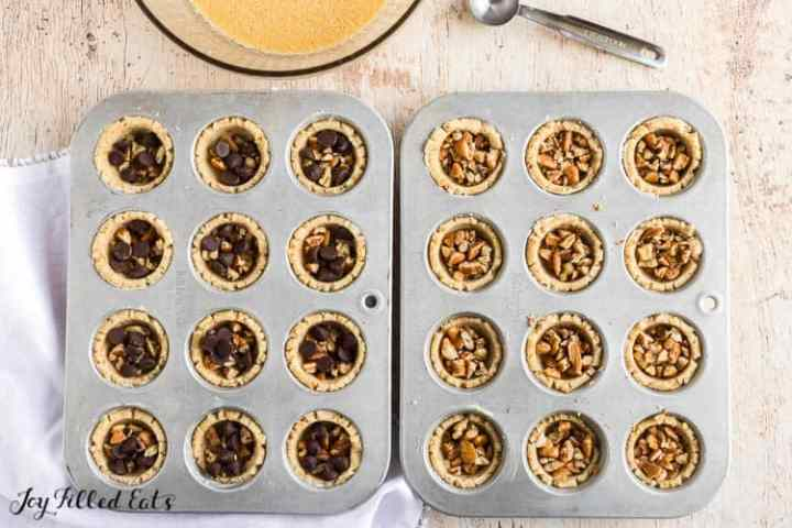 the cookie cups with pecans and chocolate chips