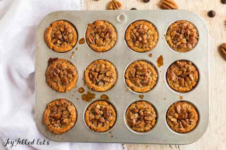 a mini muffin pan with pecan tassies