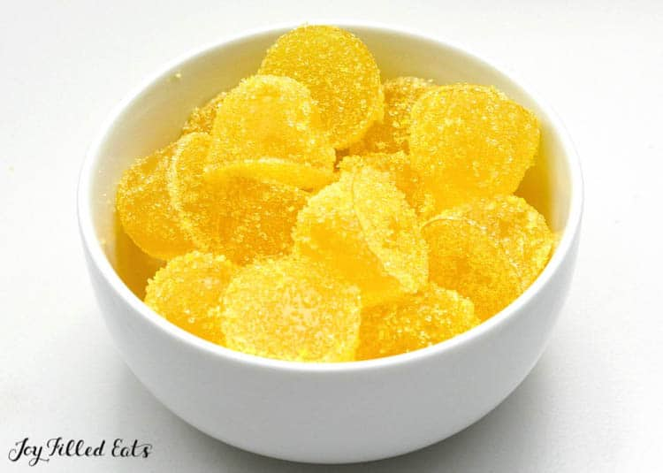 a bowl of gumdrops from the sour lemon gumdrops recipe