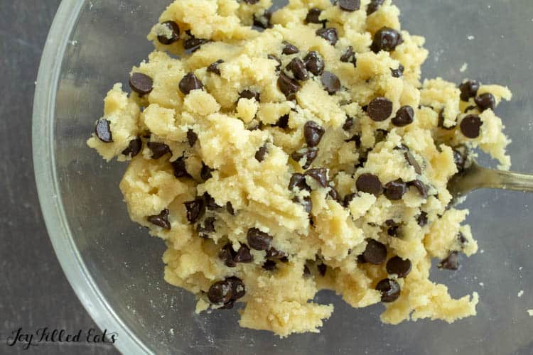 a bowl of raw edible chocolate chip cookie dough