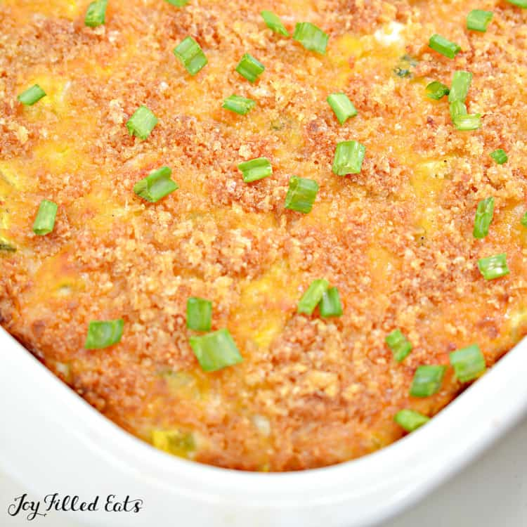 close up of the baked keto squash casserole