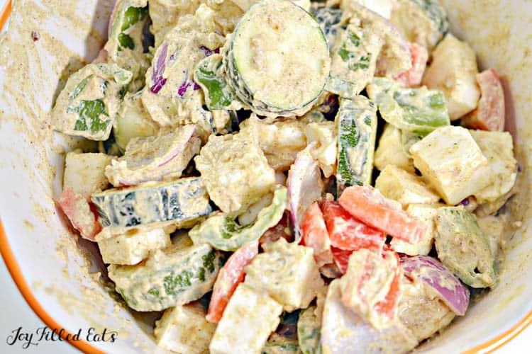 veggies and paneer in marinade