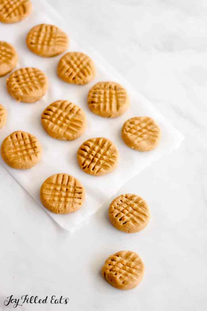 peanut butter no bake cookies on parchment paper