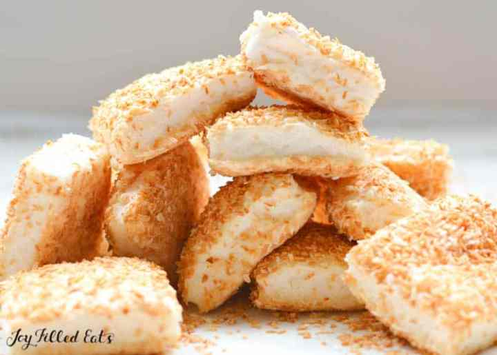 A stack of Sugar Free Marshmallows with Toasted Coconut