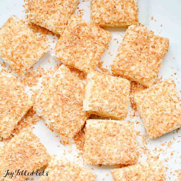Sugar Free Marshmallows with Toasted Coconut on a white surface