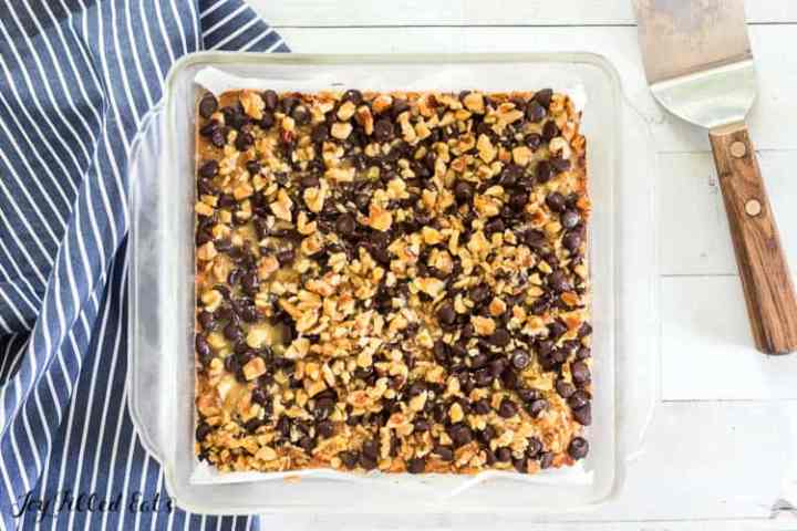 a glass pan of magic cookie bars
