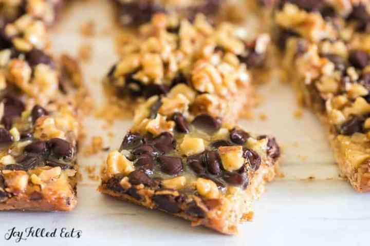 close up of one of the low carb magic cookie bars