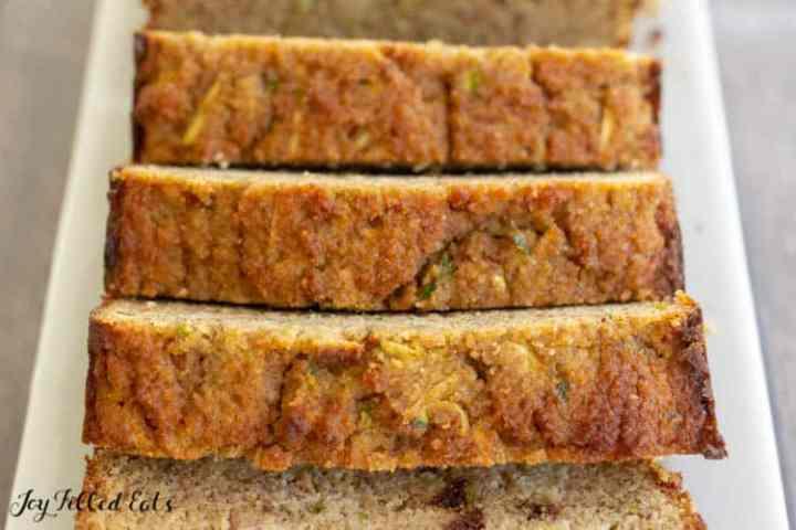 close up of the zucchini bread