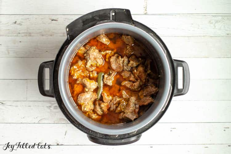 cooked instant pot pork carnitas in the instant pot