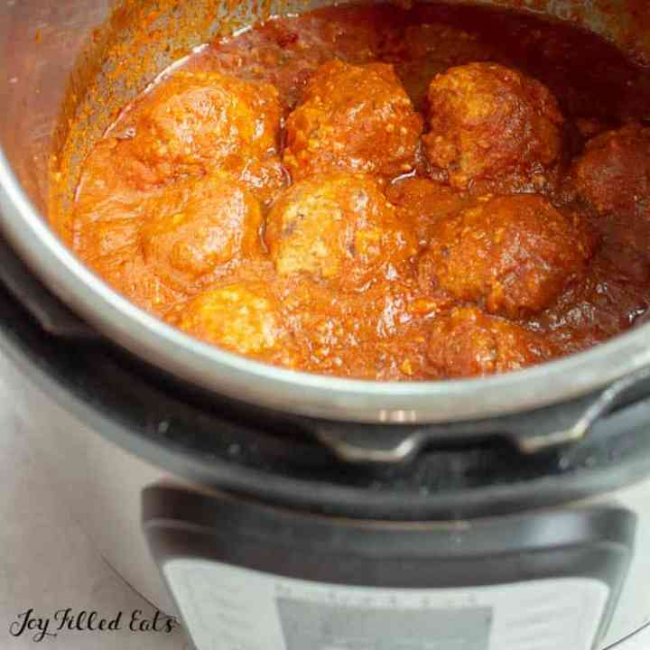 cooked instant pot meatballs in the pressure cooker
