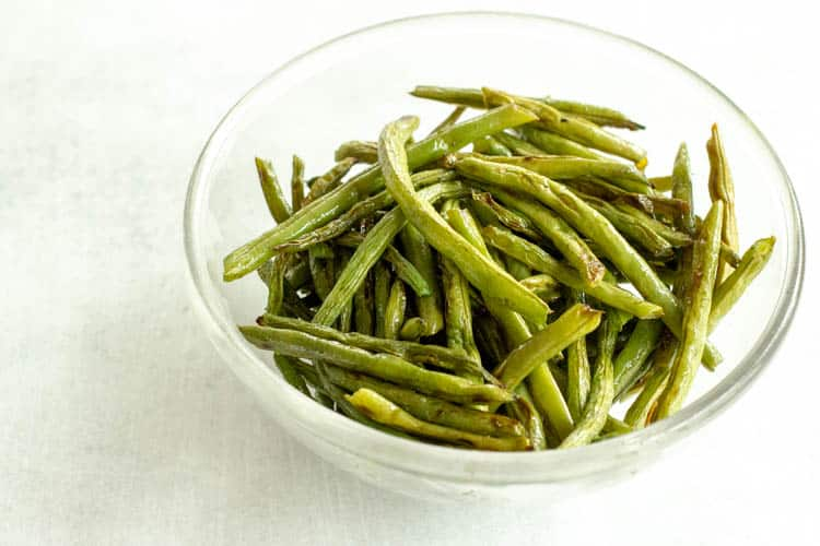 glass bowl of Oven-Roasted Green Beans