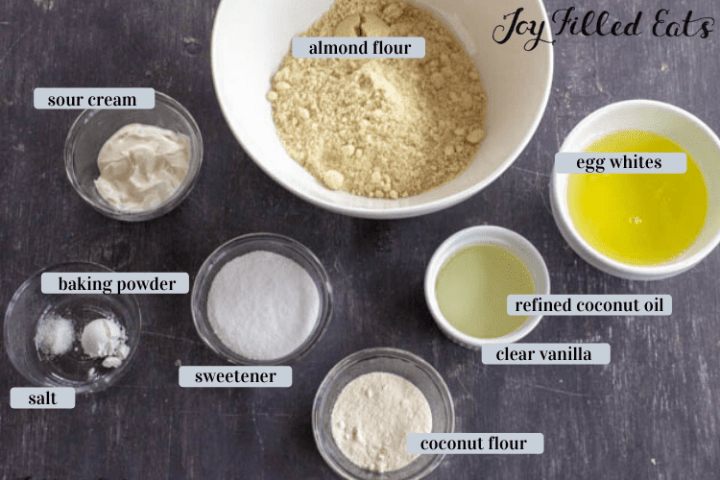 ingredients for the keto cake in bowls