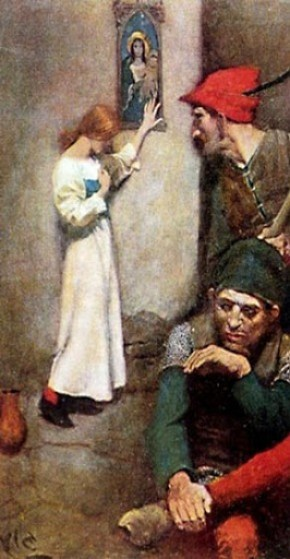 Painting by Howard Pyle of Joan of Arc titled: