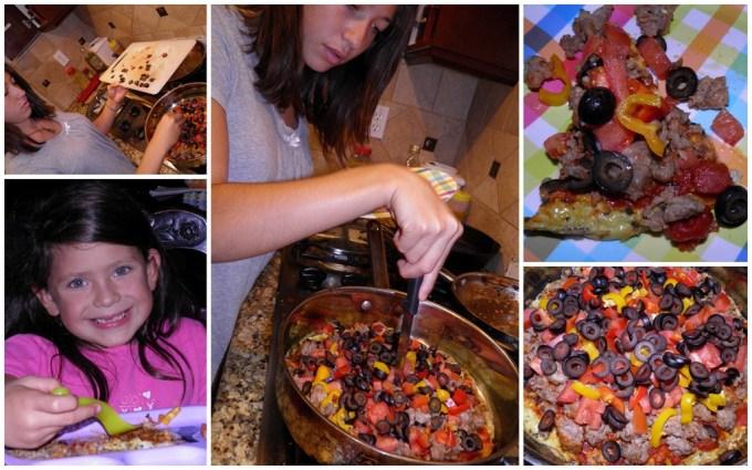 breakfast pizza collage