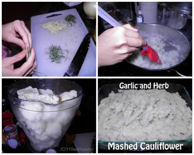 Garlic and Herb Mashed Cauliflower collage
