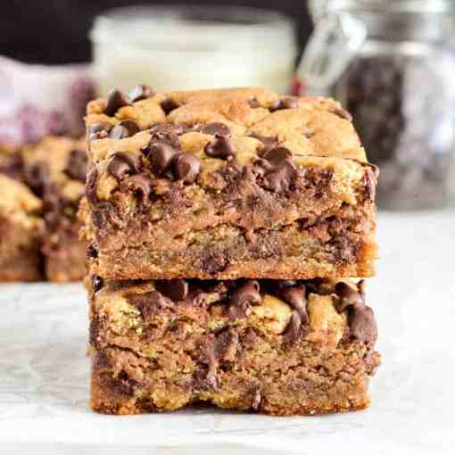 Front view of two vegan paleo blondies stacked on top of each other