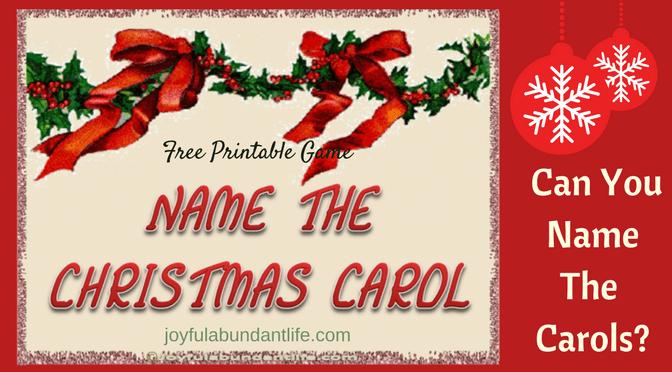 Name the Christmas Carols – Printable Game