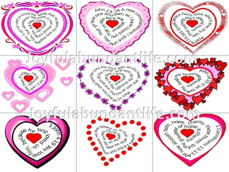 Valentines - Heart Shaped with Bible Verses to print - FREE