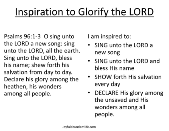 Give the Lord Glory Psalm 96 Inspiration to Glorify the LORD