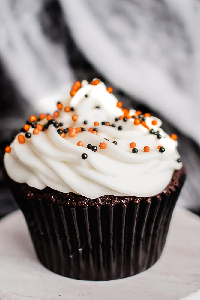 Easy Dark Chocolate Halloween Cupcake with sprinkles
