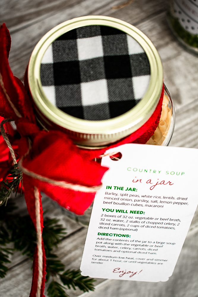 Free printable instruction gift tags for easy Christmas gifts in a jar