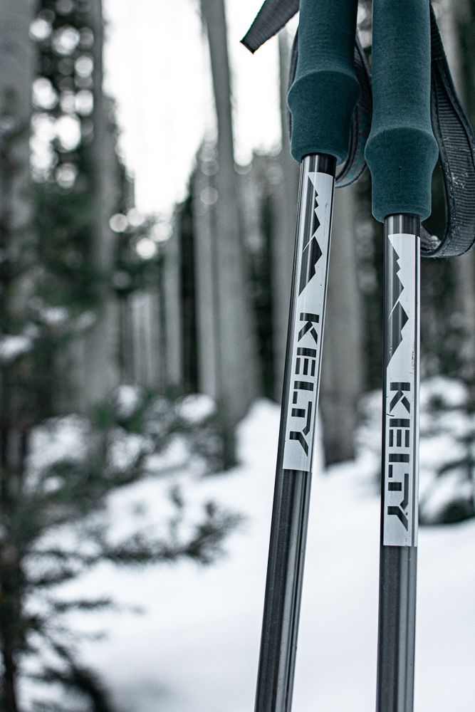 Kelty snowshoe poles in the snow