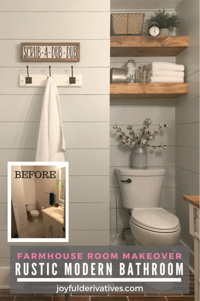 Modern Rustic Bathroom  Farmhouse Room Makeover  Joyful