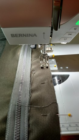 Sewing around the cushion