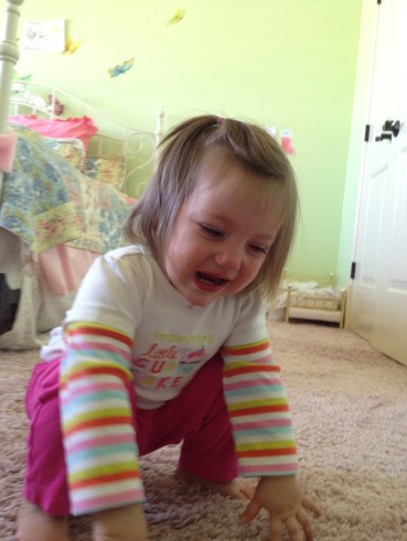 I don't have any pictures of JuBean sick.  But here she is throwing a tantrum :)