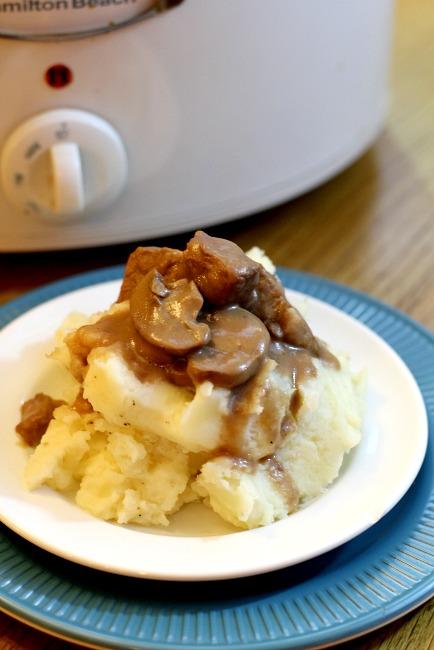 Slow Cooker Beef Tips in Mushroom Gravy - Joyfulmomma