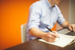 man writing