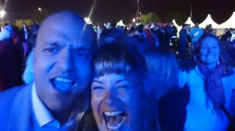 I'm photobombed as I take a Selfie during the concert!!