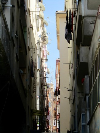 Narrow streets with children playing and laundry hanging out of the windows!