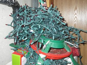 pile of tangled Christmas tree lights