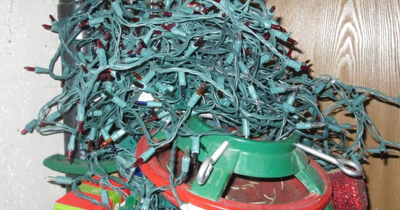 pile of tangled Christmas tree lights