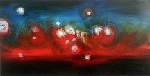 Cortège, 2014, oil on canvas, 24 x 48 inches