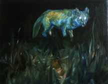 Wolf (Night Vision), 2012, oil/canvas, 14x18 inches