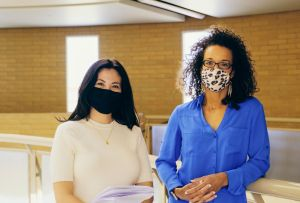 Two teachers with masks on d