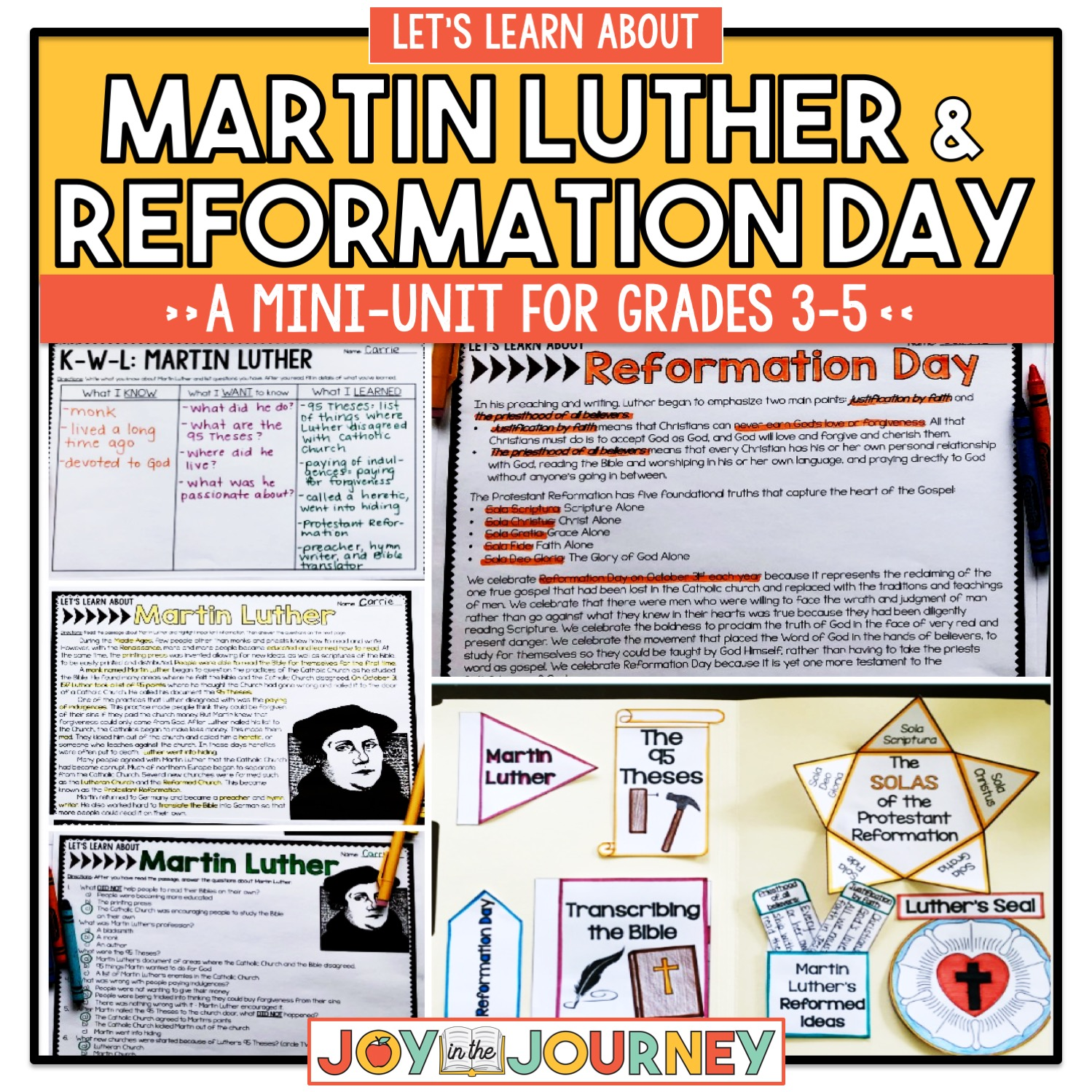 Martin Luther Reformation Day Upper Elementary Grades 3 5