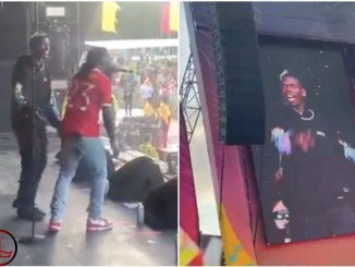 Burna Boy brings out Manchester United's Paul Pogba during Parklife performance