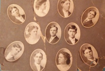 1908 Dexter Graduating Class. Conger Reynolds is at the right in the middle row.