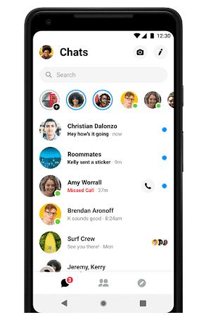 Interface do usuário do Messenger