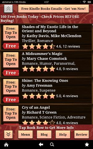 Free Books User Interface
