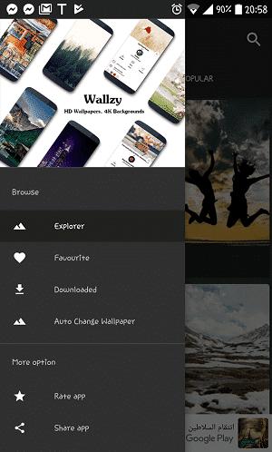 Interface do Wallzy
