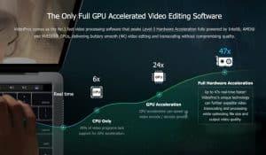 A integração de aceleração de GPU permite aos usuários uma experiência de edição de vídeo rápida e perfeita