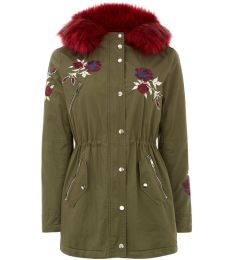 Embroidered parka with red fur hood. Pic: New Look.com