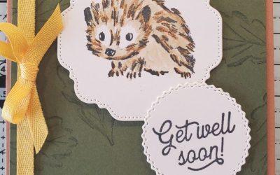 Walk in the Woods Cute Hedgehog Get Well Card Stampin' Up! – Free Stamp set see below