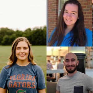 Three head shots of student interns smiling